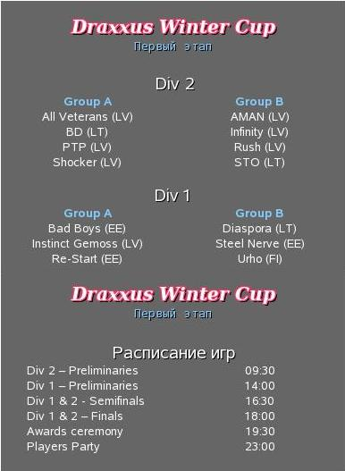 Draxxus Winter Cup Groups